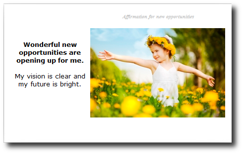 new opportunities affirmation