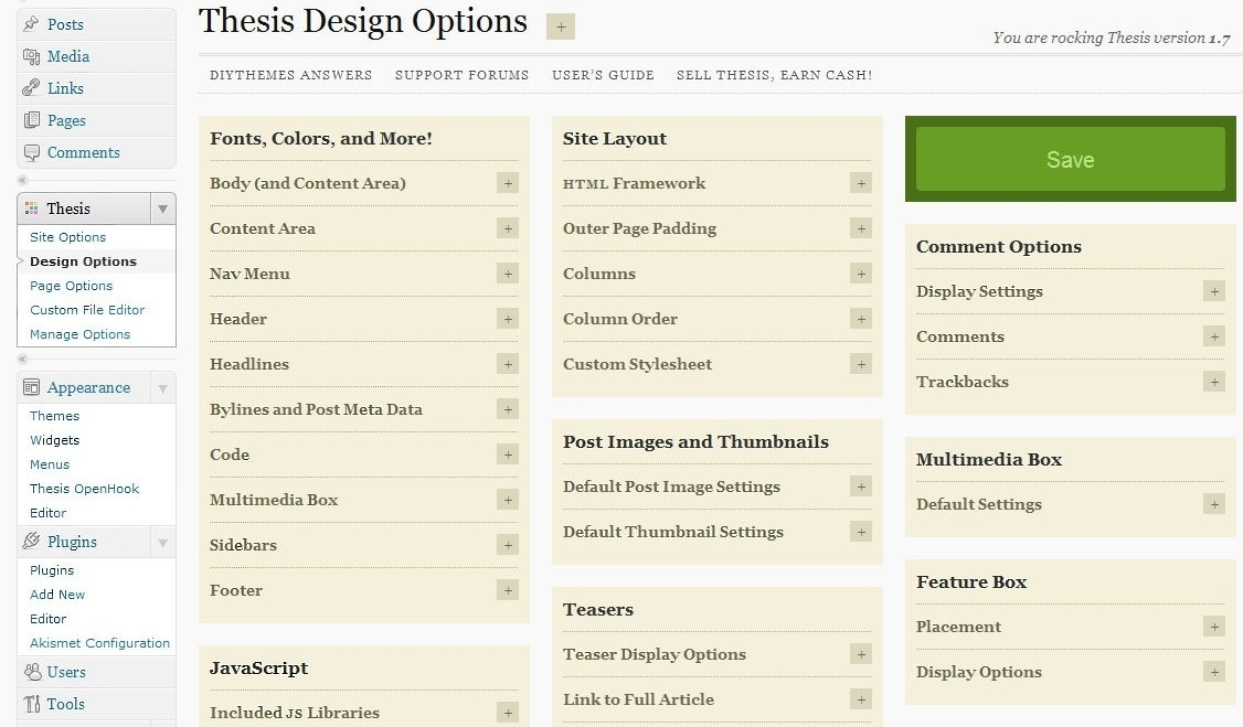 Thesis Theme Design Options